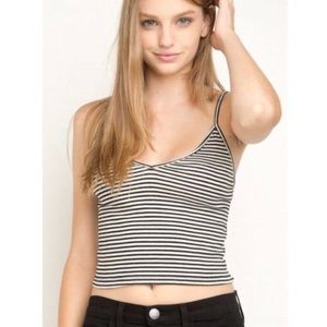 Gray & White Striped Crop Top